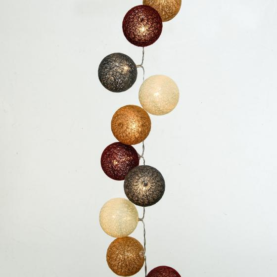 LED-Lichterkette Baumwollkugel, 90 cm, Kunststoff und Baumwolle, braun