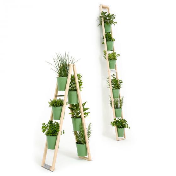 Pflanzleiter mit Topf 2-in-1 ,238x22x42 cm, Eschenholz, blassgrün
