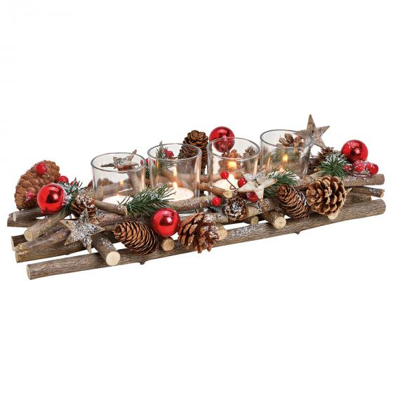 Adventsgesteck Country Christmas, 10x40x17 cm, Holz und Glas, braun