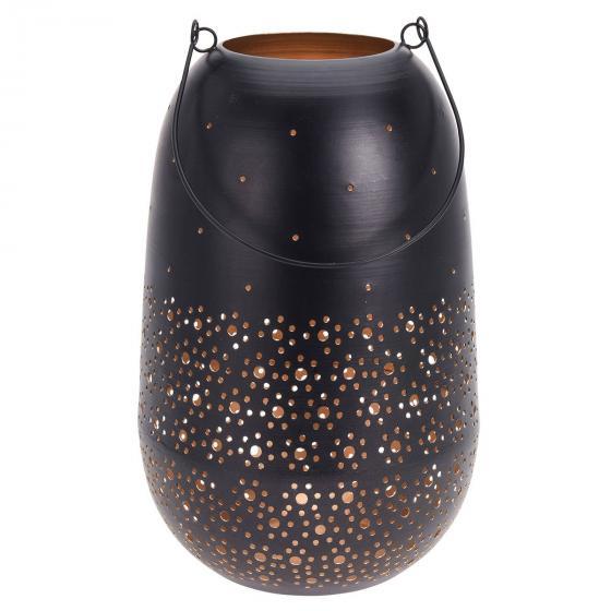 Windlicht Punkte-Design, 19x19x30cm, Metall, schwarz/gold