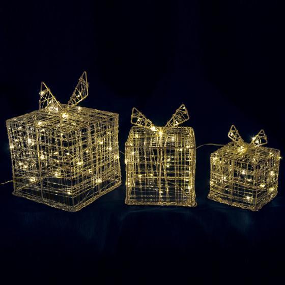 Micro-LED-Geschenke, 3er-Set, 20x20x20cm, Acryl, transparent