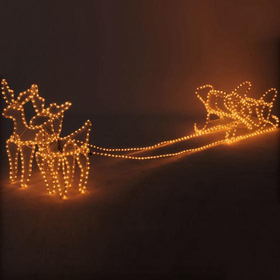 LED-Rentier-Gespann mit Schlitten, 230x50x52cm, Metall, weiß
