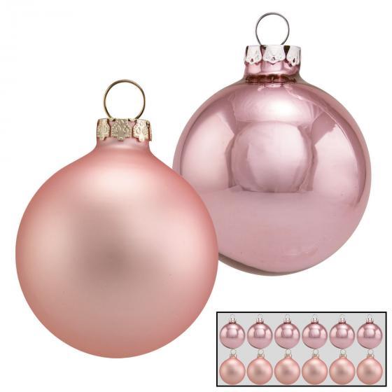 Christbaumkugeln 12er Set, 6 cm, Glas, rosa