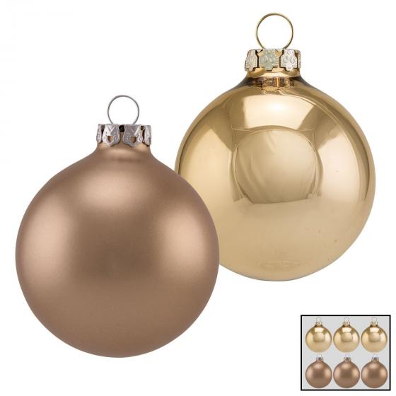 Christbaumkugeln 6er Set, 8 cm, Glas, gold