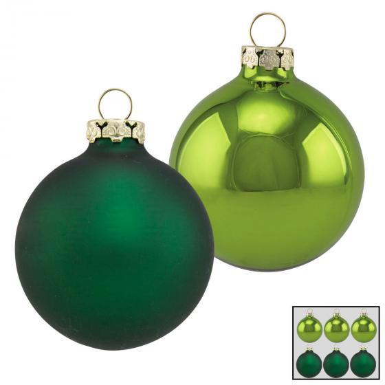 Christbaumkugeln 6er Set, 8 cm, Glas, grün