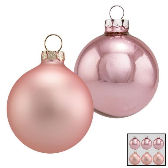 Christbaumkugeln 6er Set, 8 cm, Glas, rosa