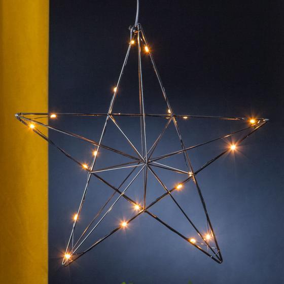 Star LED-Leuchtstern Line, 36x38x10 cm, Metall, schwarz