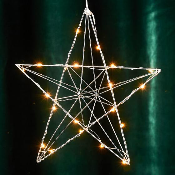 LED-Leuchtstern Line, 36x38x10 cm, Metall, chrom