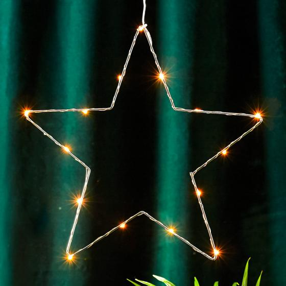 STAR LED-Leuchstern Sparkling, 37cm, Metall, chrom
