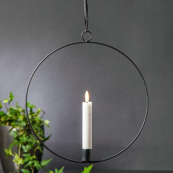 Star LED-Fensterdeko Flammenring, 30x28x2 cm, Metall und Wachs, schwarz