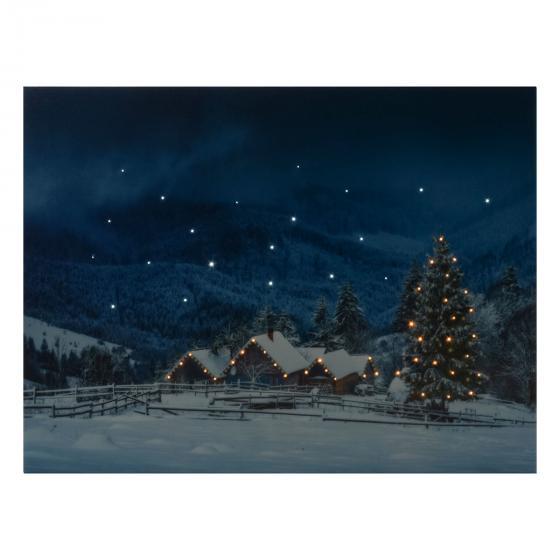 LED-Bild Winteridyll, 40x1,5x30cm, Canvas, bunt