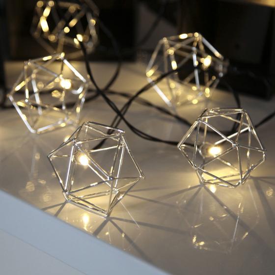 LED-Lichterkette Edge, 225 cm, Metall, silber