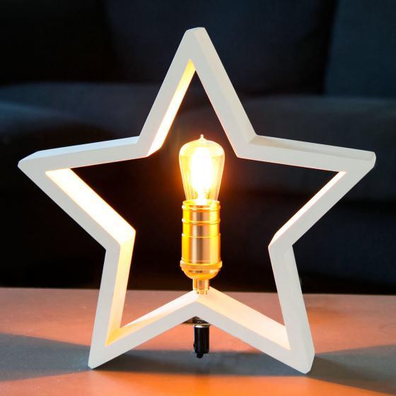 Star Holzstern Lysekil, 30x28x5 cm, Holz, weiß