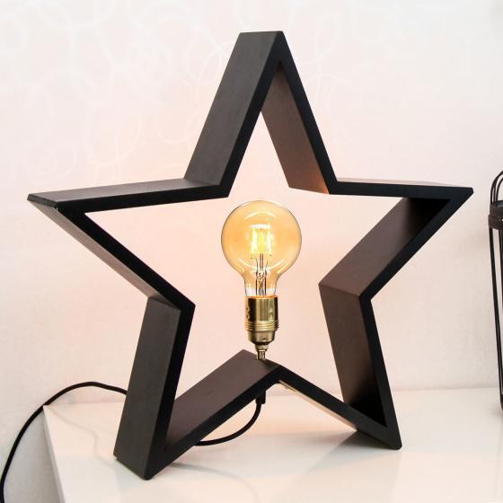 Star Holzstern Lysekil, 48x50x10 cm, Holz, schwarz