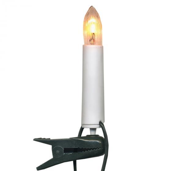 Lichterkette Baumkerzen 16tlg. für Innen, 7,5 m, Kunststoff, weiß