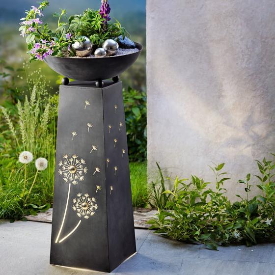 Pflanzsäule Pusteblume, mit LED-Beleuchtung & Timer, 70 cm, Ø 34 cm, anthrazit