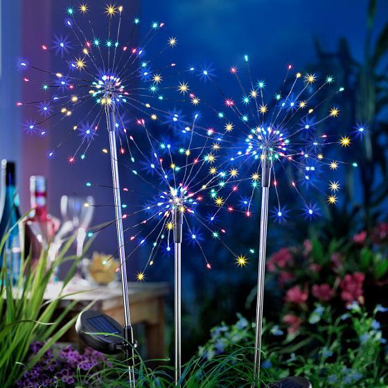 Solar-Gartenstecker Fleur, 3er-Set, 80 cm, Ø 26 cm