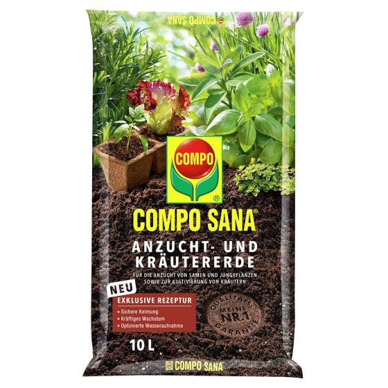 Compo Sana® Anzucht- und Kräutererde, 10 Liter