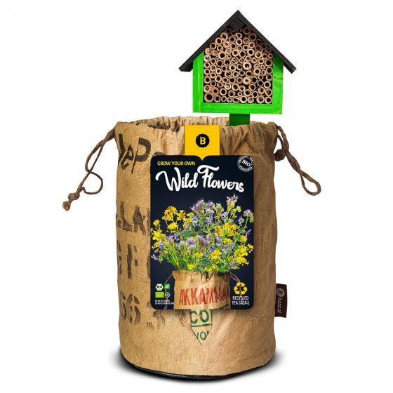 BIO Wildblumen mit Insektenhotel - GELB