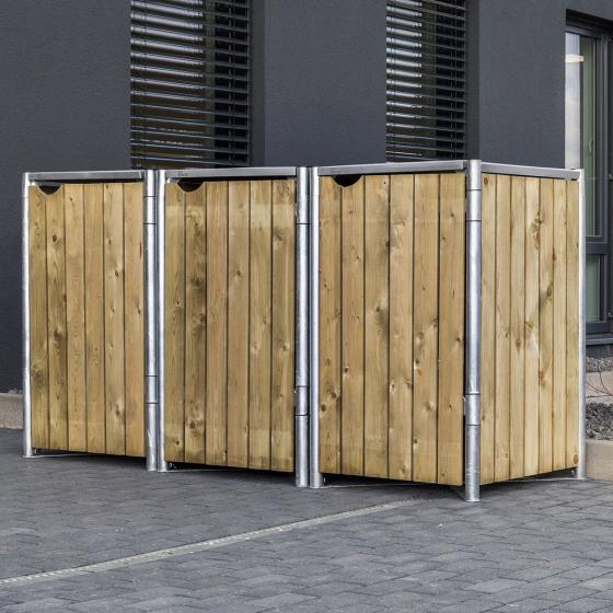 Mülltonnenbox 240l Holz, 3er Box, Natur