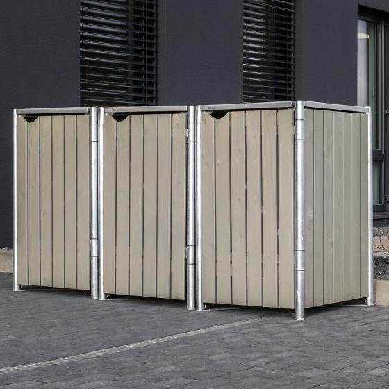 Mülltonnenbox 240l Holz, 3er Box, Natur grau