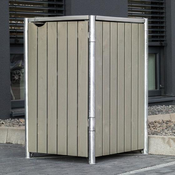 Mülltonnenbox 140l Holz, 1er Box, Natur grau