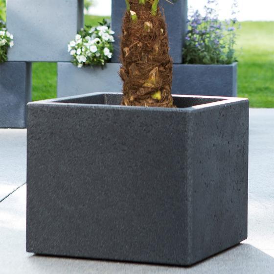 Pflanzkübel Cube, 38x38x33 cm, Stony Black