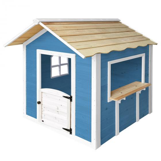 Kinder Spielhaus großer Palast, blau und weiß lasiert, ca. 138 x 118 x 132,5 cm