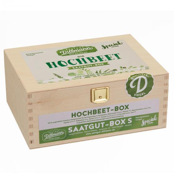 Saatgut-Holzbox Hochbeet, 8 Saatgut-Sorten