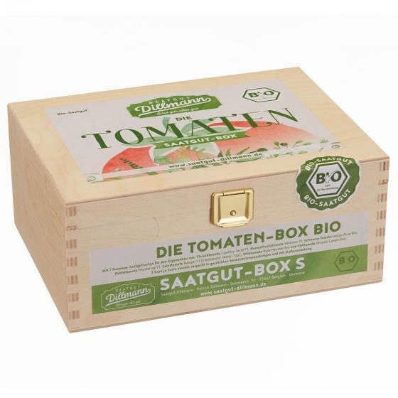 Saatgut-Holzbox Tomaten, 7 BIO-Saatgut-Sorten