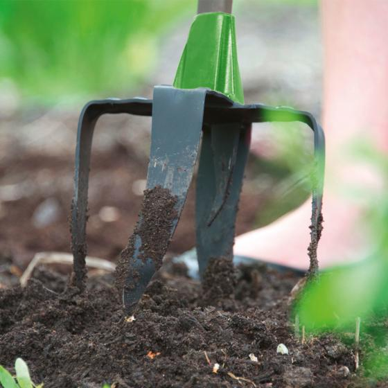 Garten Freund Pro, mit 4 + 2 Zinken, Stahlstiel pulverbeschichtet