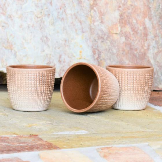 3er-Set Keramik-Übertöpfe 6cm, Braun