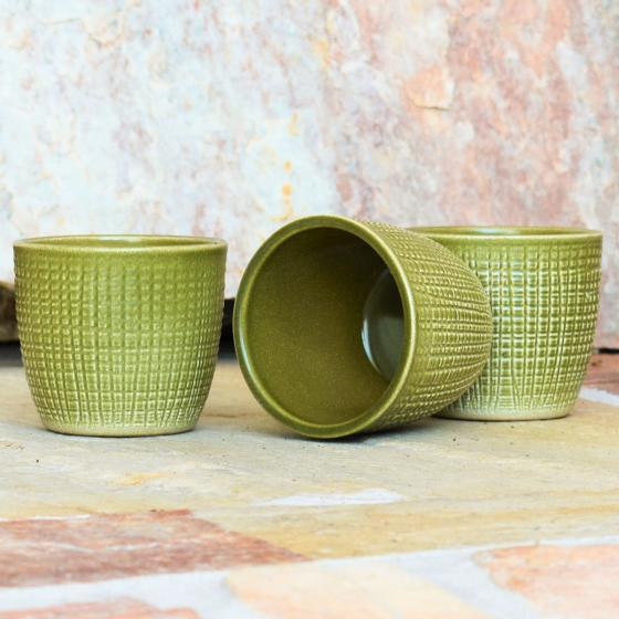 3er-Set Keramik-Übertöpfe 6cm, Grün