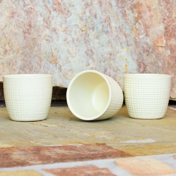 3er-Set Keramik-Übertöpfe 6cm, Vanille