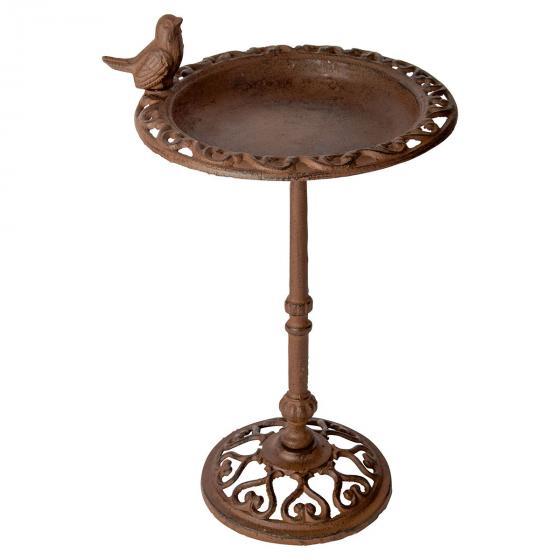 Vogeltränke auf Säule, Antik, Gusseisen, ca. 38 cm