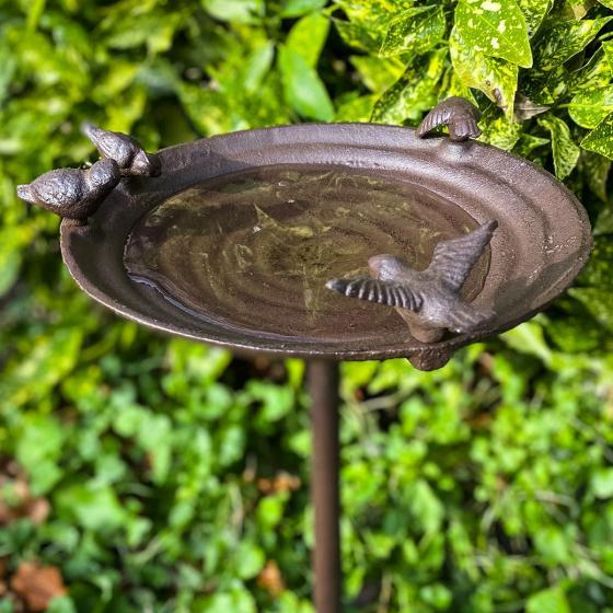 Vogeltränke Piepmatz auf Säule, Gusseisen, ca. 60 cm