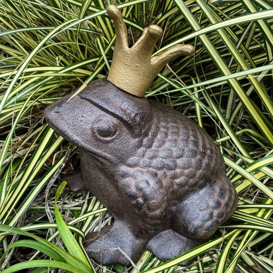 Gartenfigur Froschkönig, Gußeisen, ca. 20 cm