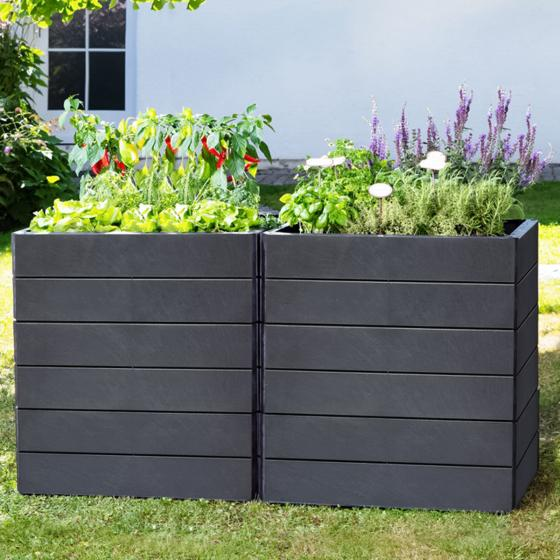 ERGO QUADRO STONE M Hochbeet-System, 80x60x25 cm