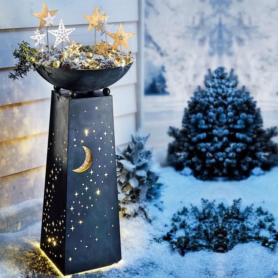 Pflanzsäule Sternenhimmel mit LED-Beleuchtung