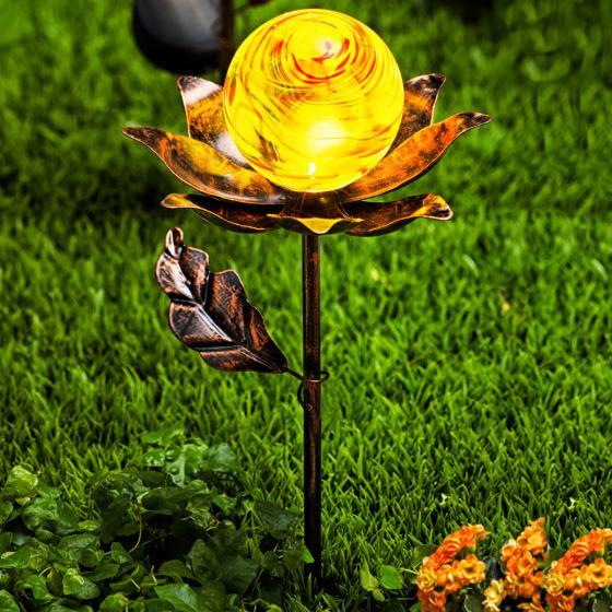 Solar-Gartenstecker Blume, 2er-Set