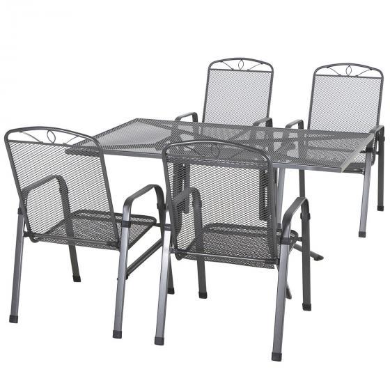 Gartenmöbel-Set Elda mit 4 Stapelsesseln und 1 Tisch aus Stahlgeflecht