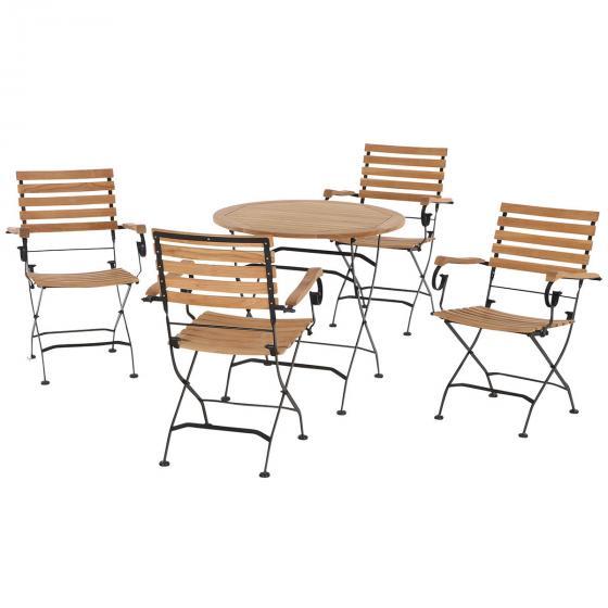 Gartenmöbel-Set Peru mit 4 Klappsesseln mit Armlehnen und 1 runden Klapptisch