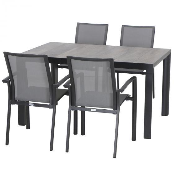 Gartenmöbel-Set Velia  mit 4 Stapelstühlen und 1 Tisch