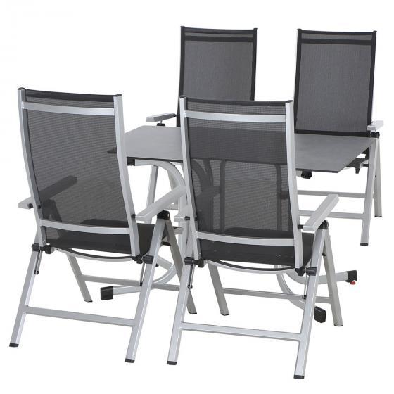Gartenmöbel-Set Argos mit 4 Klappsesseln und 1 Aluminium-Klapptisch (120x80 cm)