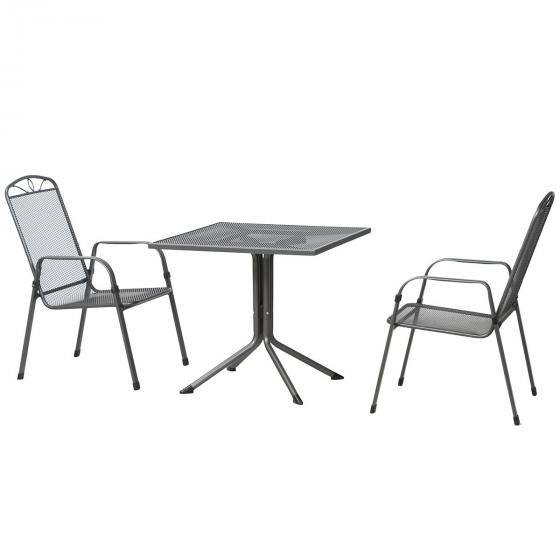 Gartenmöbel-Set Elda mit 2 Stapelsesseln und 1 Tisch(80x80), Stahlgeflecht