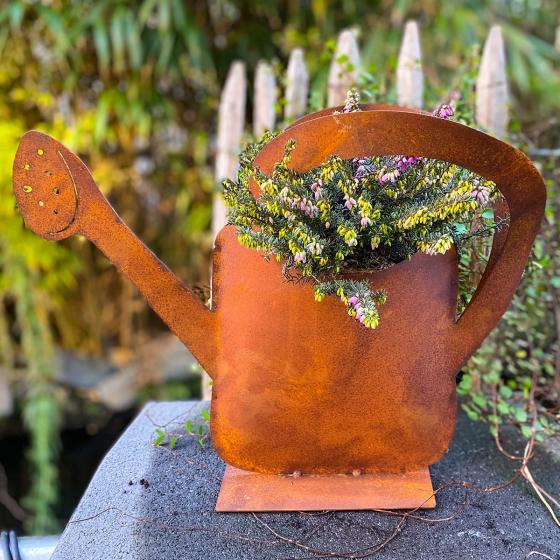 Gartenfigur Gießkanne Flower Shower, Edelrost, ca. 36 cm