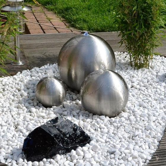 Wasserspiel Edelstahl matt 3er-set, mit Pumpe, LED-Beleuchtung & Becken, 28/25/20cm