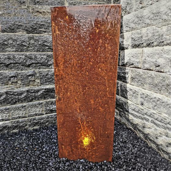 Wasserwand Husum klein Cortenstahl matt, mit Zubehör, 130x45x6cm