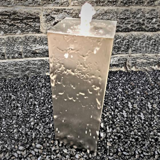 Säulenbrunnen Edelstahl matt, mit Zubehör & Becken, 60x20x20cm