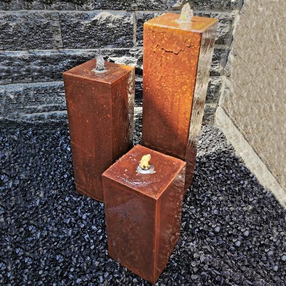 Säulenbrunnen Cortenstahl 3er Set, mit Zubehör & Becken, Höhe: 80/60/40 cm, 20x20cm